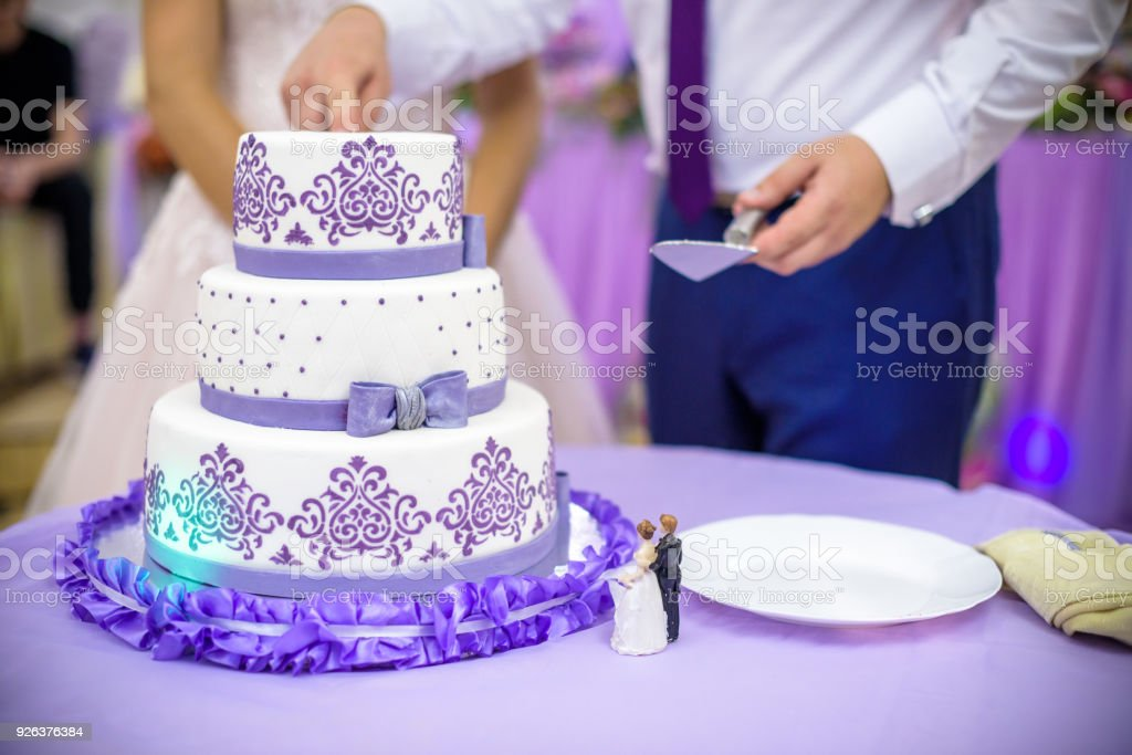 Bride And Groom At Wedding Reception Cutting The Wedding Cake Stock