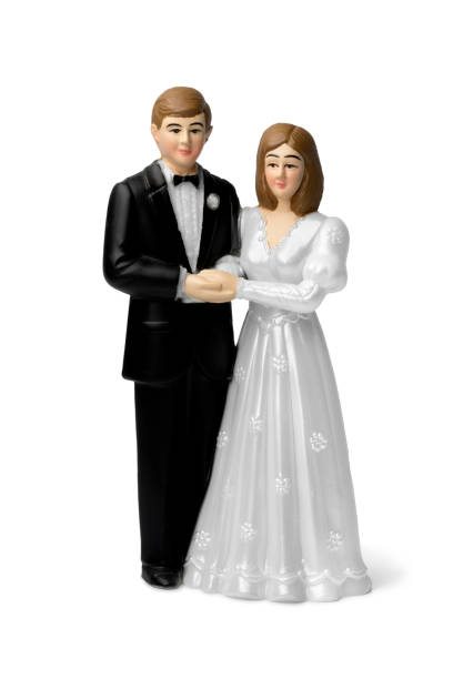 Bride and groom  cake topper stock photo