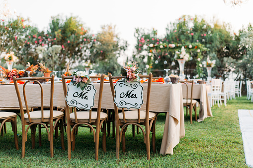 Bride and Groom Chair at Wedding Reception