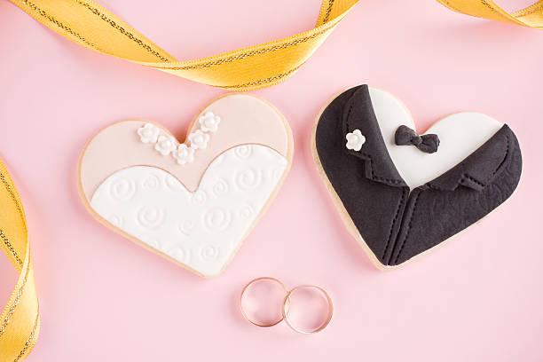 Sposa e lo sposo i cookie - foto stock