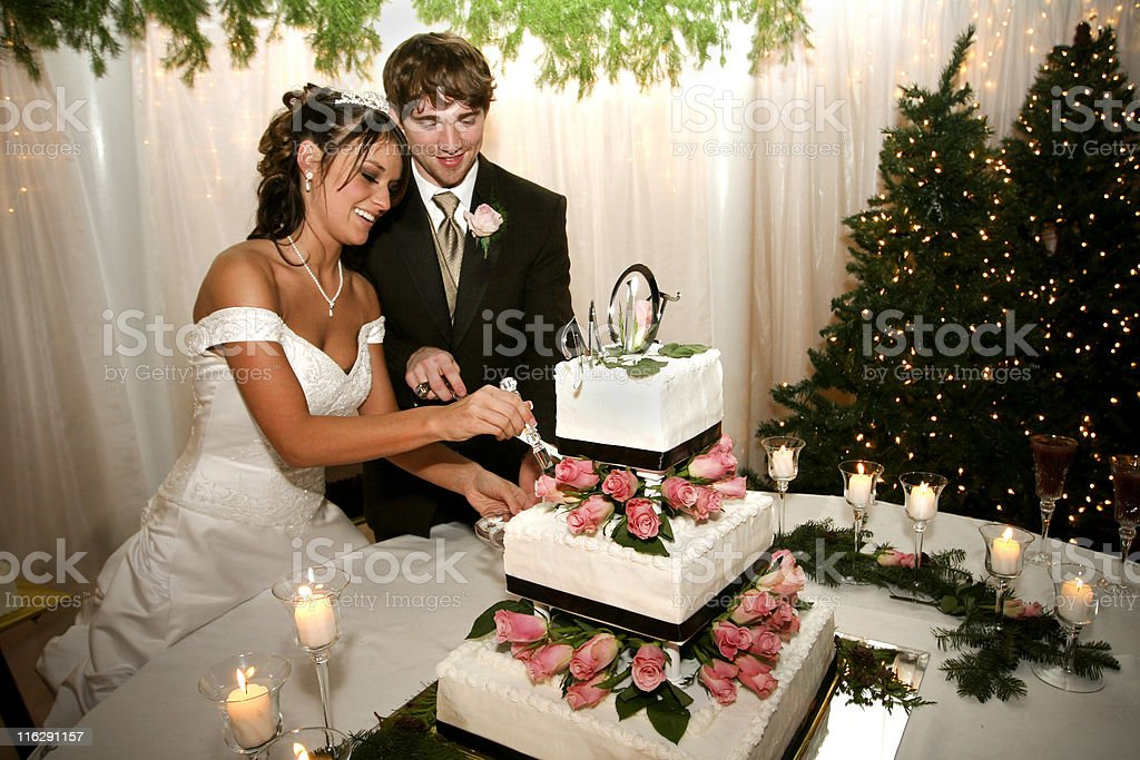 Bride and Groom Couple Cutting Cake royalty-free stock photo