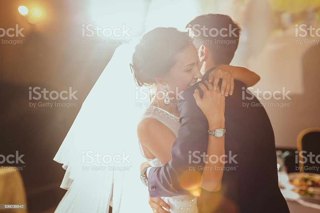bride and groom dancing in the restaurant royalty-free stock photo