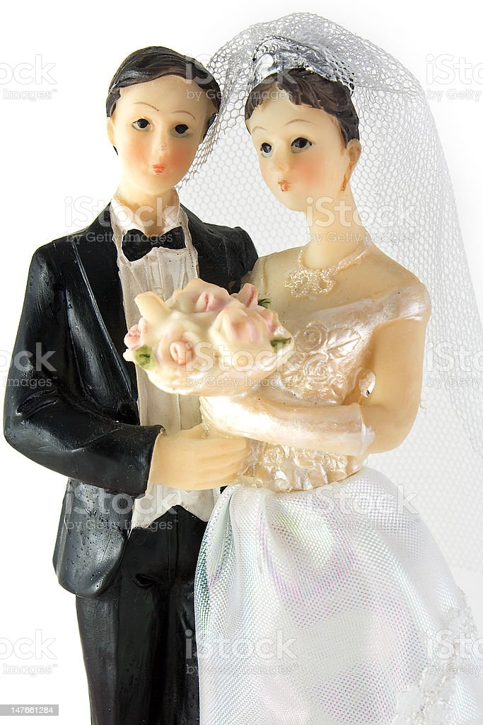 Bride and groom dolls wedding over white background royalty-free stock photo