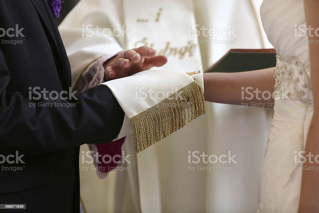 Bride and groom during the marriage oath stock photo