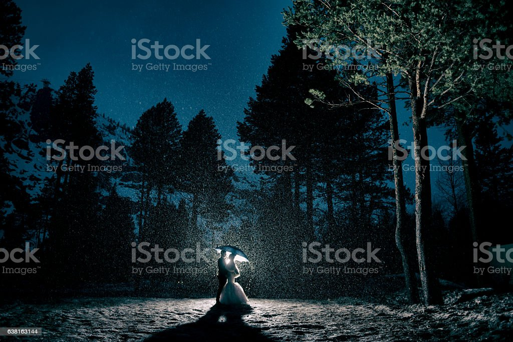 Bride and Groom Embracing in the forest during a storm stock photo