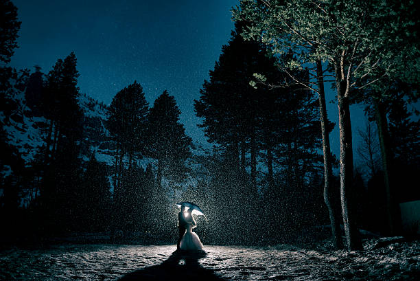 bride and groom embracing in the forest during a storm - hochzeitsbaum stock-fotos und bilder