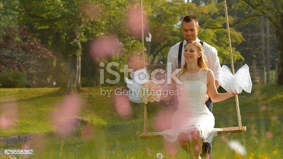 Happy newlywed groom pushing bride on swing in park.