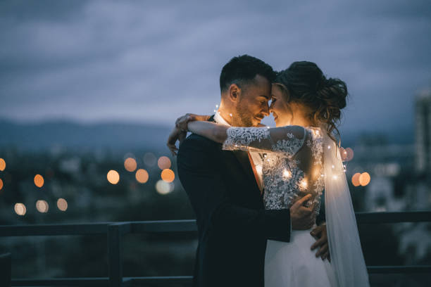 bride and groom enjoying in their love - wedding stock photos and pictures