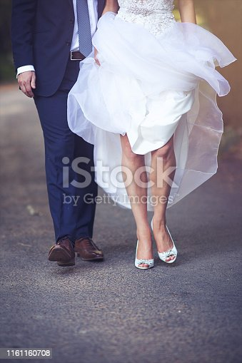 Bride and Groom Feet walking together front view Cape Winelands South Africa