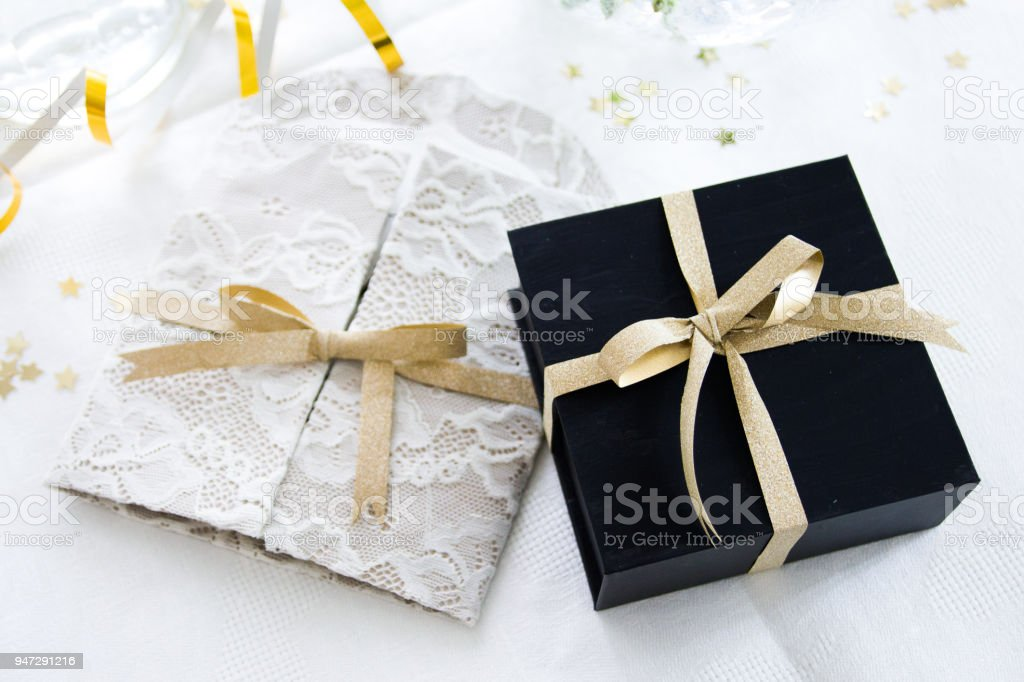 Bride And Groom Gifts At Wedding Reception Table Stock Photo More