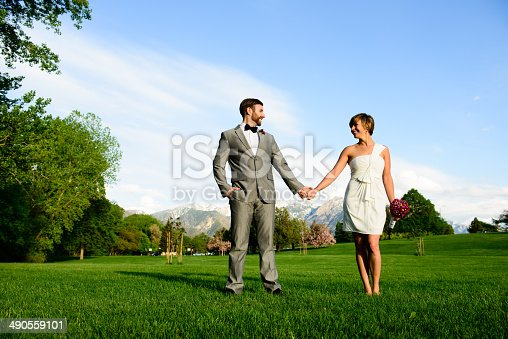 Happy bride and groom holding hands, looking at each other.   Sky and mountains behind them.