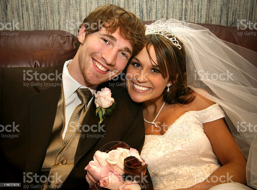 Bride and Groom Happy Wedding Dress Couple royalty-free stock photo