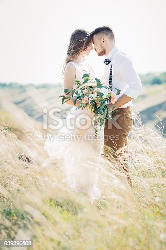 istock bride and groom hugging at the wedding in nature. 639390508