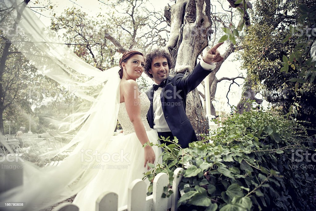 bride and groom in garden royalty-free stock photo