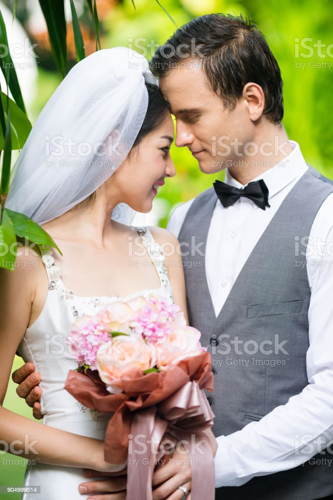 Bride and groom in wedding day. stock photo