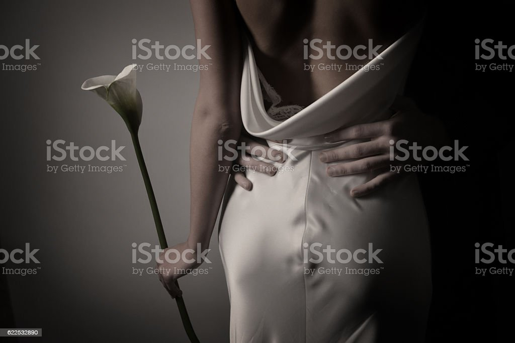 Bride and groom indoors royalty-free stock photo