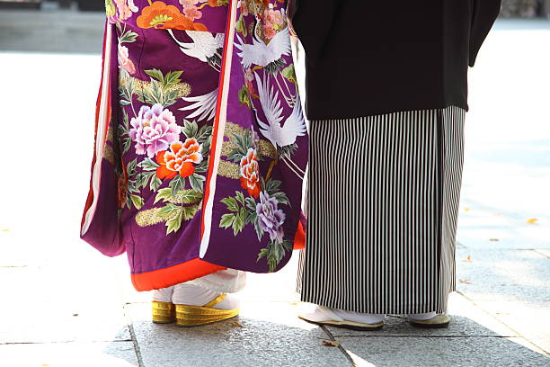 Bride and Groom - Japanese traditional wedding Bride and Groom in KIMONO, Japanese traditional wedding style.  shrine stock pictures, royalty-free photos & images