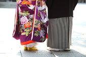 花嫁と花婿の日本の伝統的なウェディング