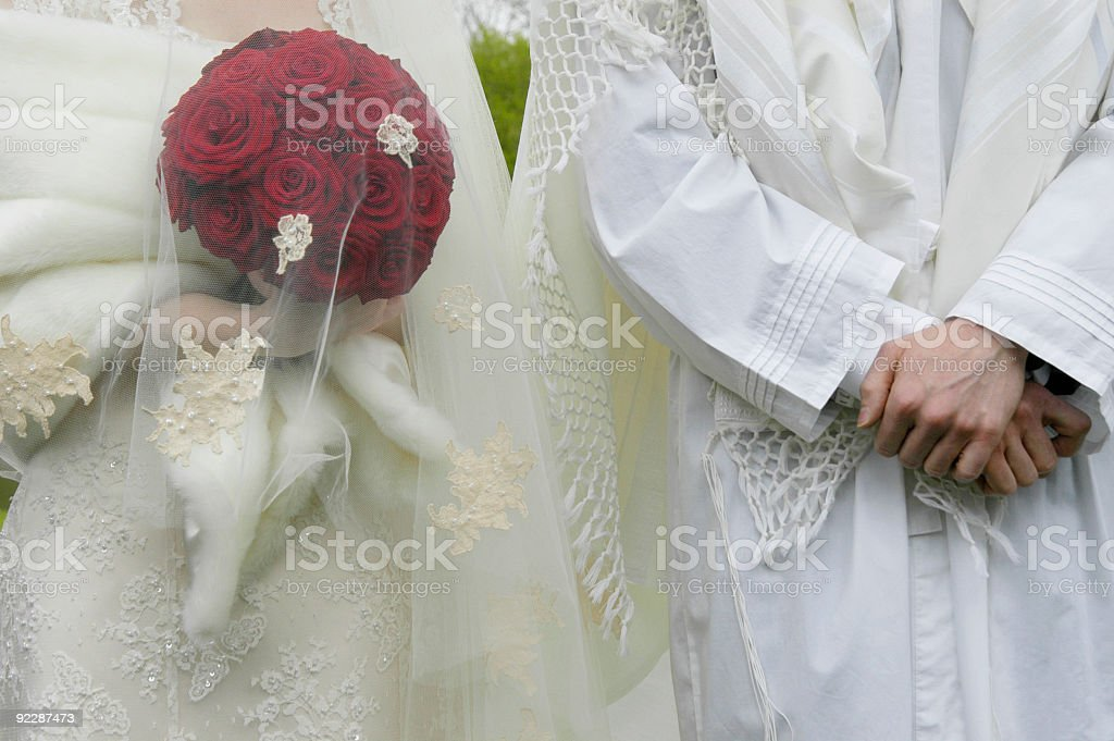Bride and groom, Jewish Wedding Ceremony, UK stock photo