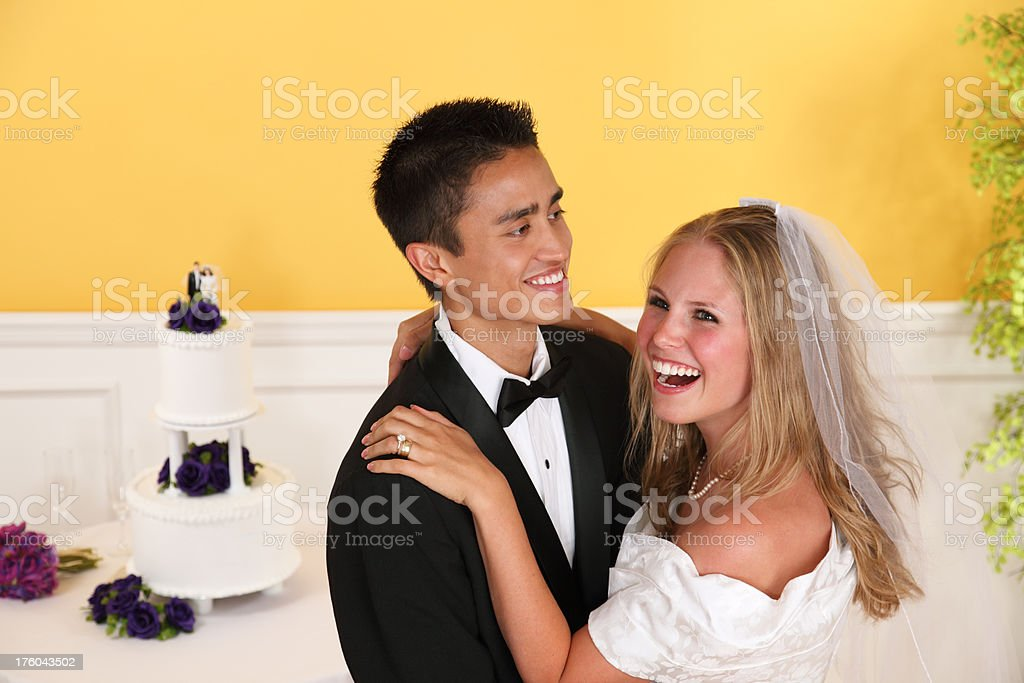 Bride and Groom Laughing royalty-free stock photo