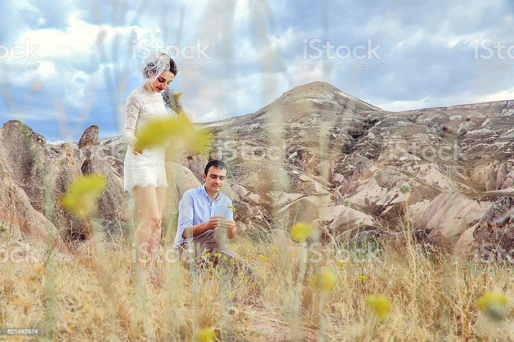 Braut und Bräutigam eine Hochzeit Blumen Lizenzfreies stock-foto
