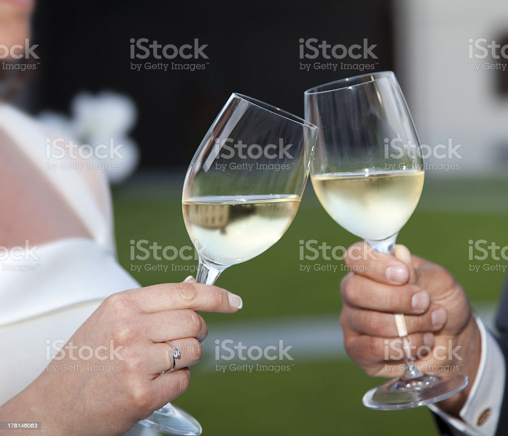Bride and groom making a toast at sunset royalty-free stock photo