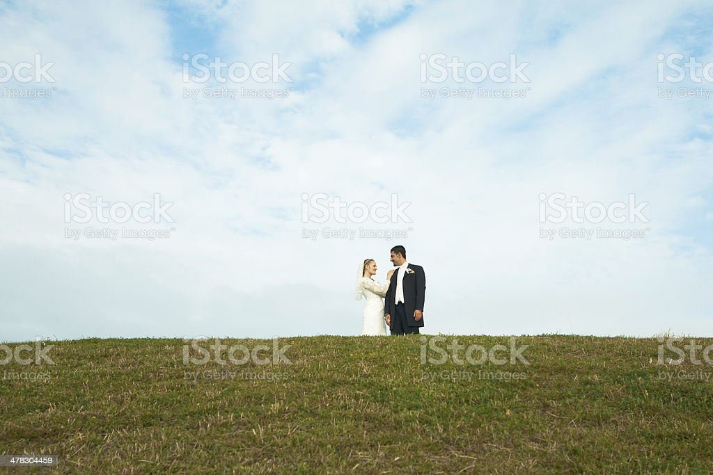 Bride and groom on top off hill stock photo