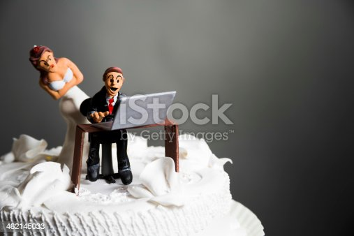 istock Bride and Groom on wedding cake 462145033