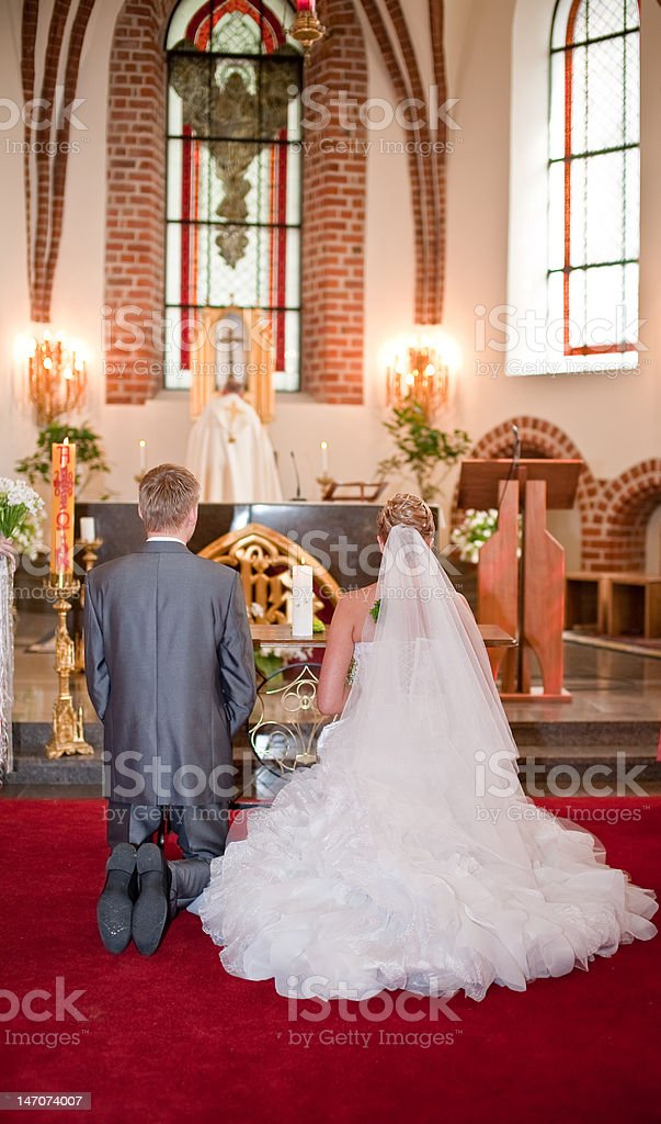 Bride and groom on wedding ceremony royalty-free stock photo