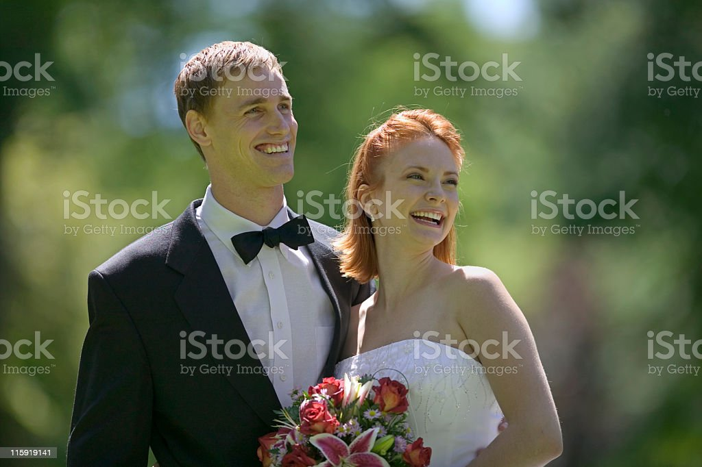 Bride and Groom Outside royalty-free stock photo
