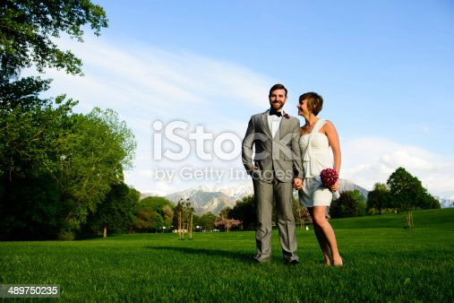 Happy bride and groom looking at each other standing on grass.  Clear sky and mountains behind them.