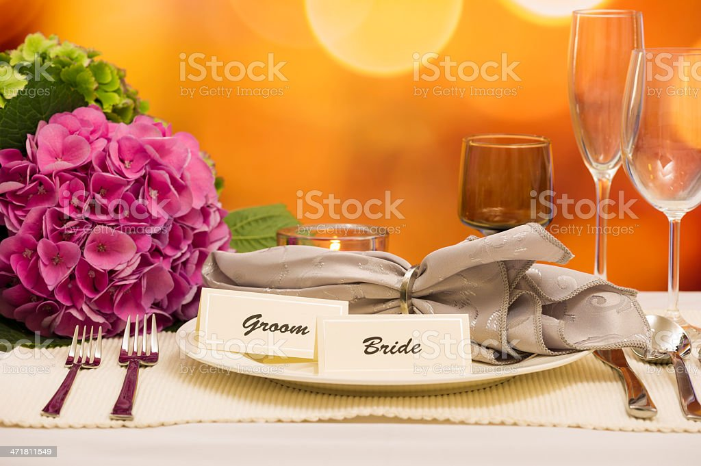 Bride and Groom Place Setting royalty-free stock photo