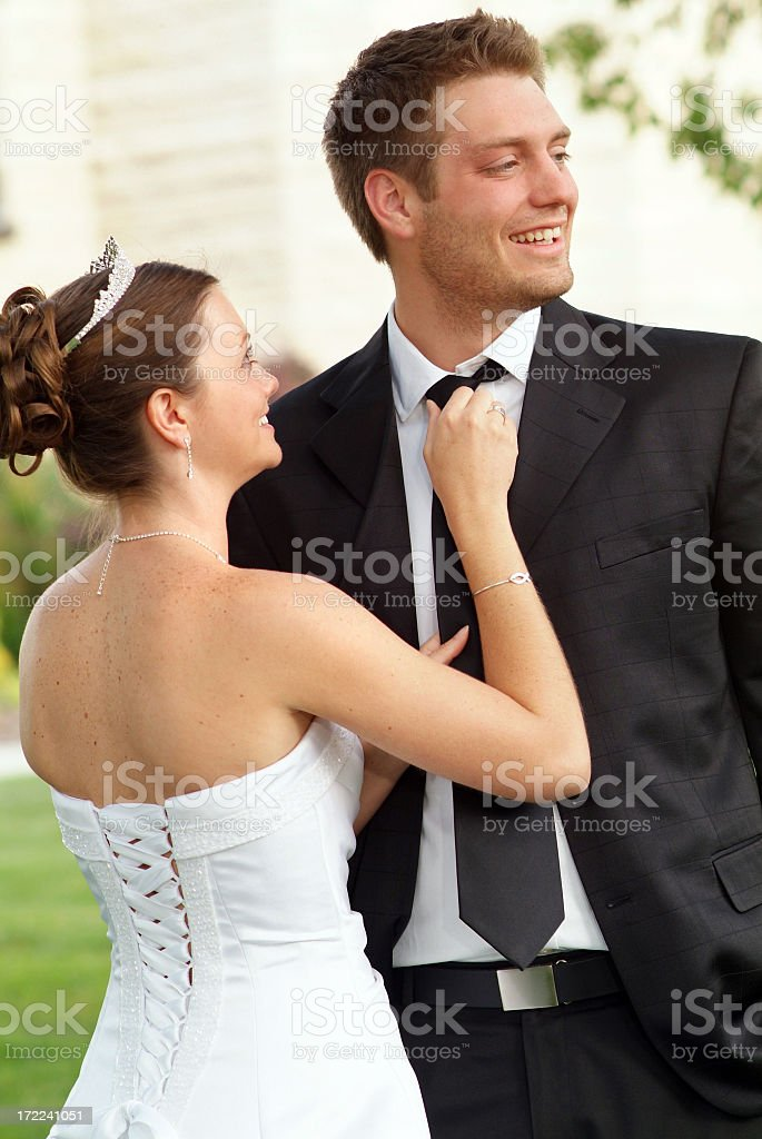 Bride and Groom Sharing a Moment after Their Wedding royalty-free stock photo