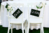 Wedding reception, decorated table with bride and groom sign