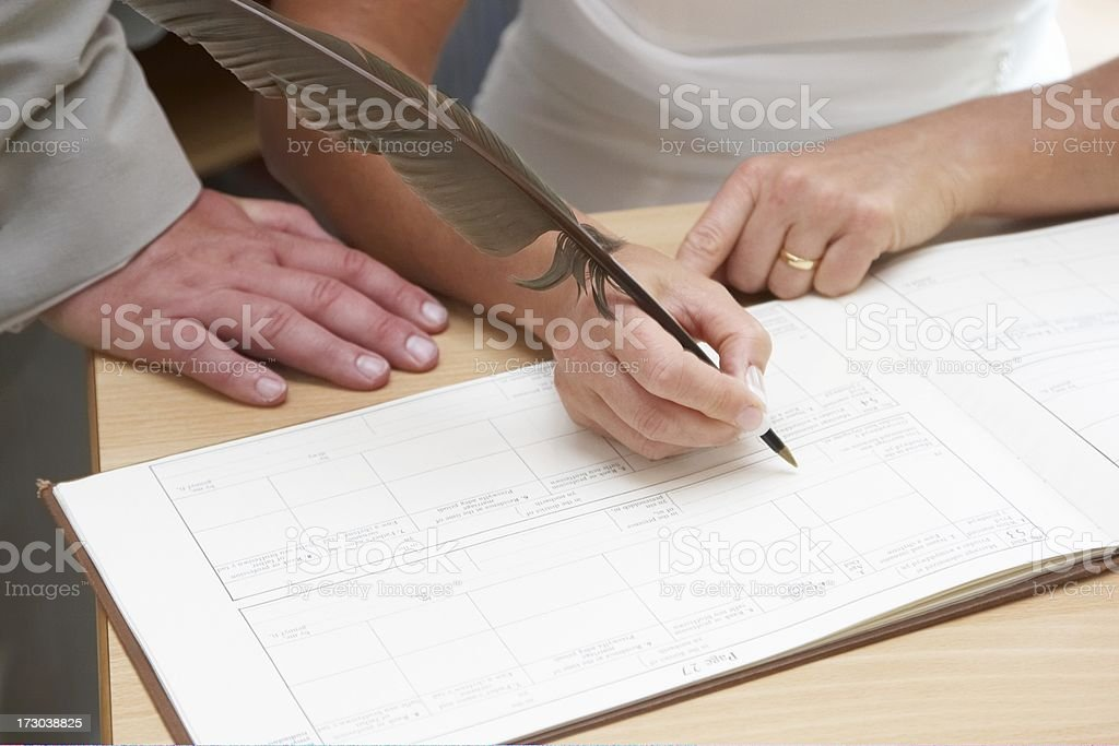 Bride and groom signing wedding register royalty-free stock photo