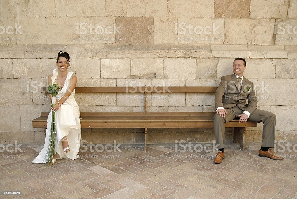bride and groom smiling royalty-free stock photo