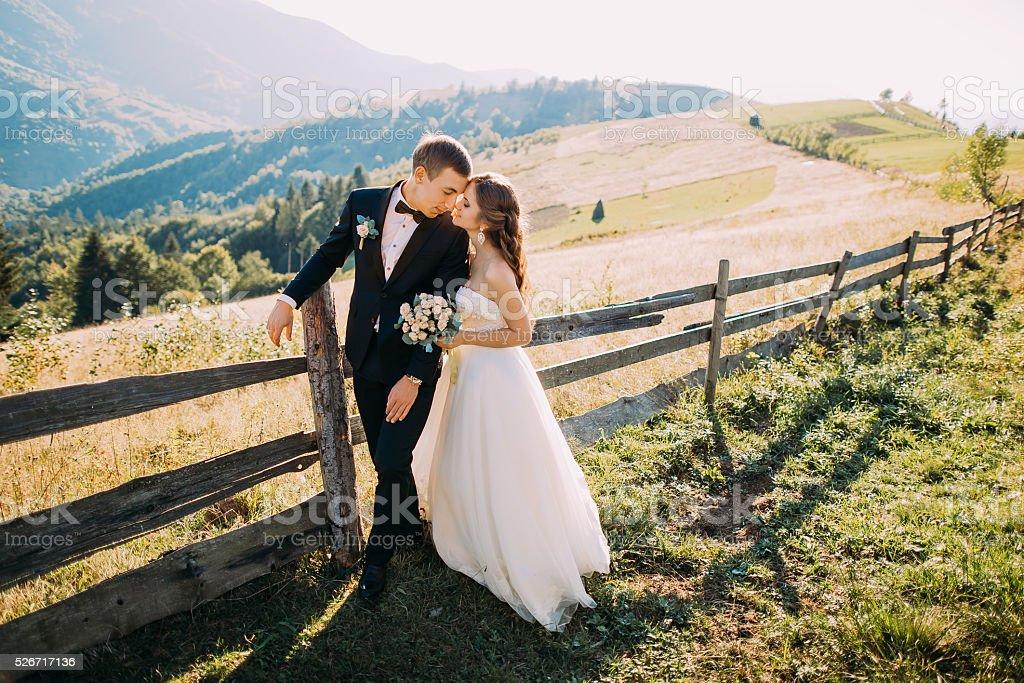 Noiva e noivo abraçando em pé perto de cerca de madeira no - foto de acervo