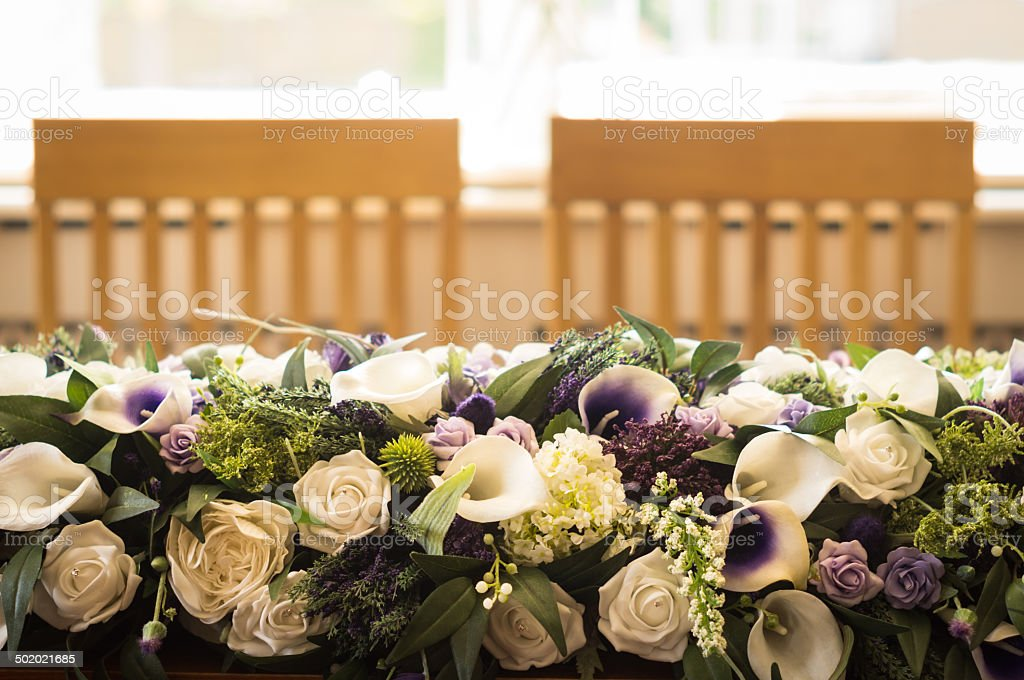 Bride And Groom Table Setting With Empty Chairs Royalty Free Stock Photo