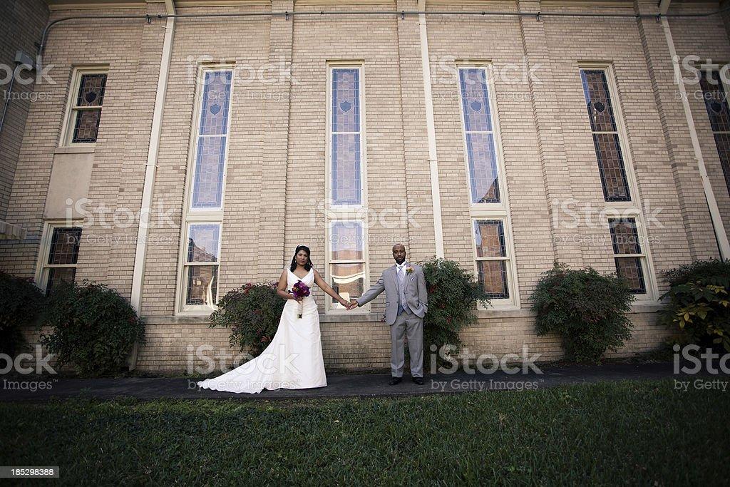 Bride and Groom Toned Portrait stock photo