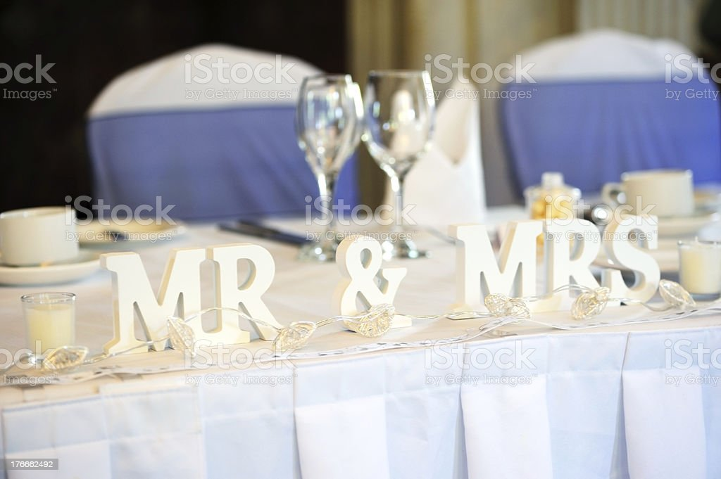 Bride and groom top table royalty-free stock photo