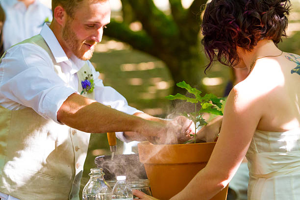 Bride and Groom Tree Planting stock photo