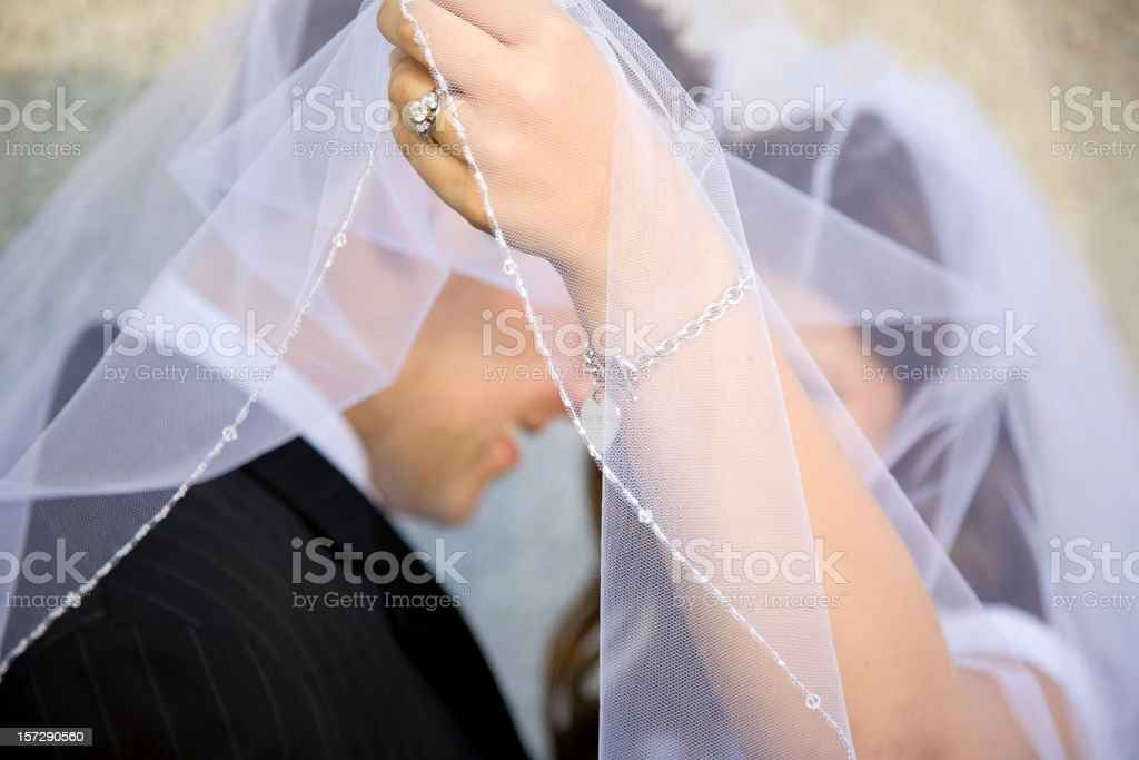 Bride and Groom Under Veil stock photo