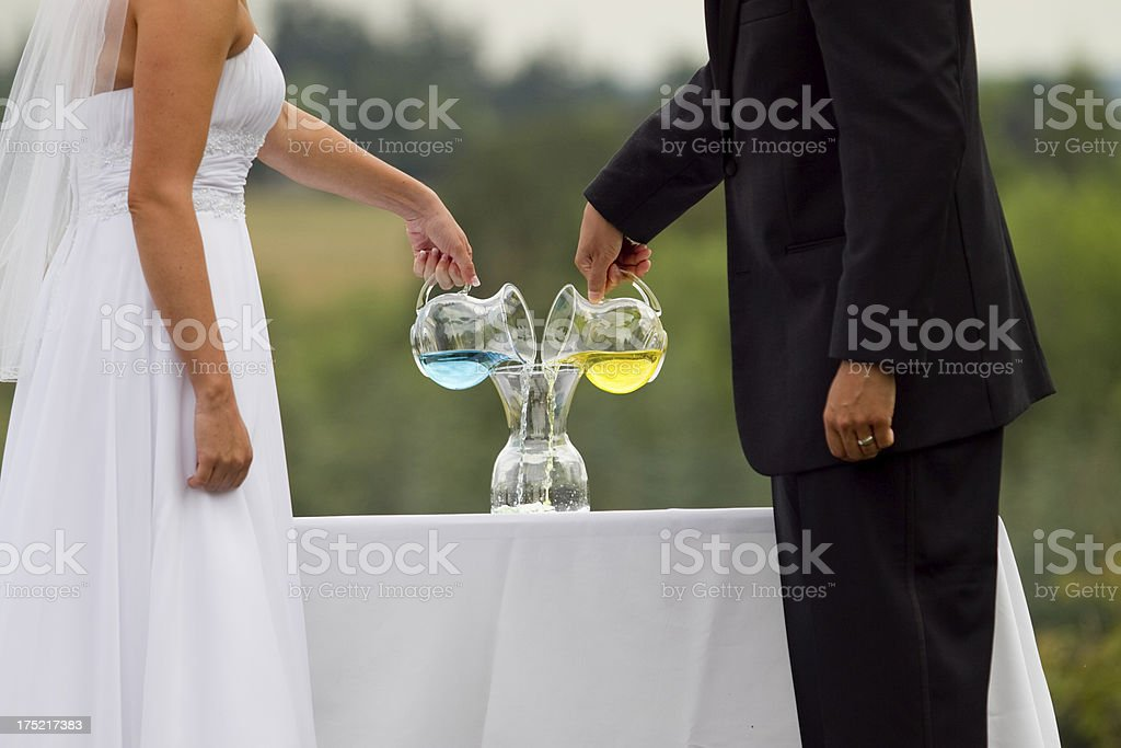 Bride and Groom Unique Unity Ritual During Wedding Ceremony royalty-free stock photo