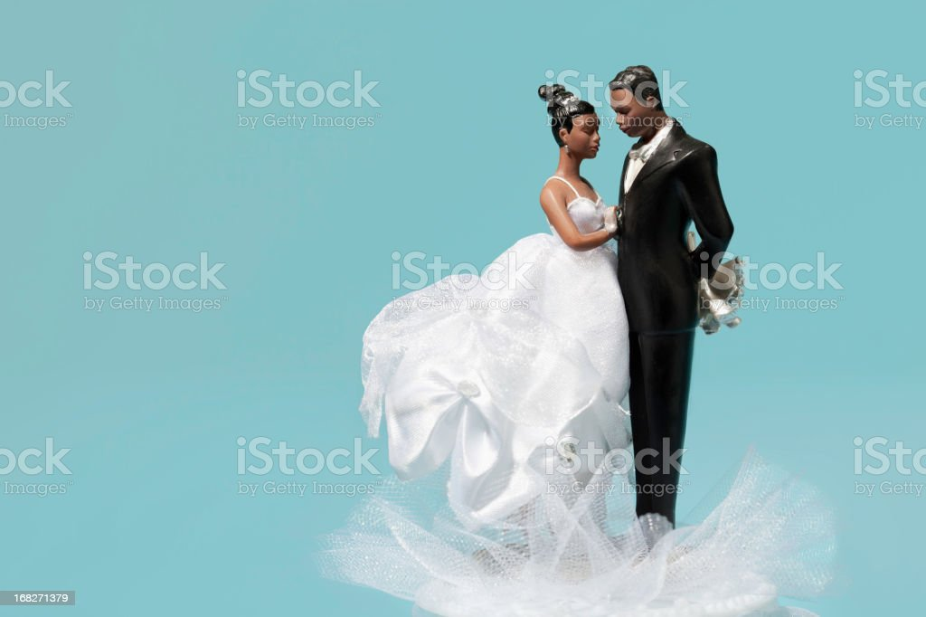 Bride and Groom Wedding Cake Decoration stock photo