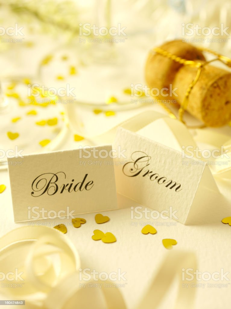 Bride and Groom Wedding Day Place Settings royalty-free stock photo
