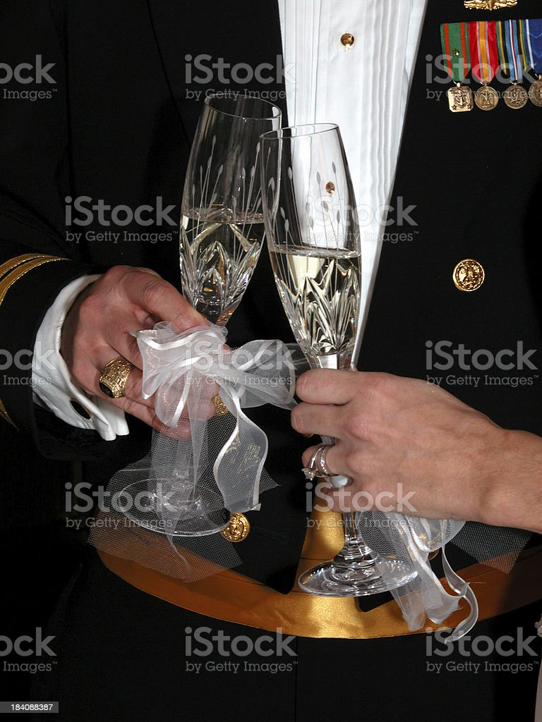 Bride and Groom Wedding Toast royalty-free stock photo