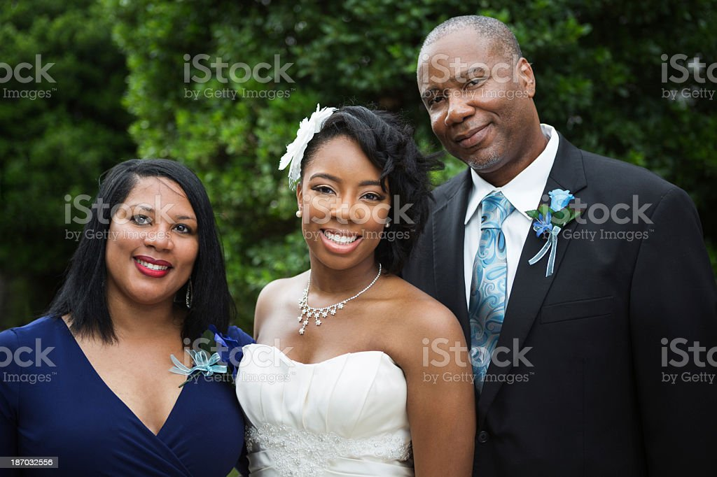 Bride and her family stock photo