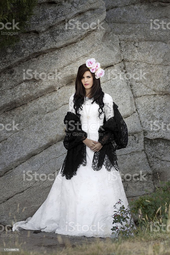 Bride and Rock Wall royalty-free stock photo