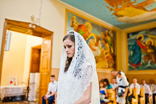 Bride at church on kerchief