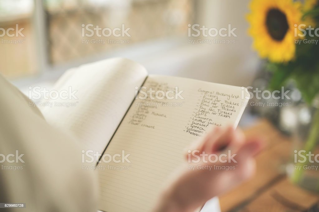 Bride Checking To Do List stock photo